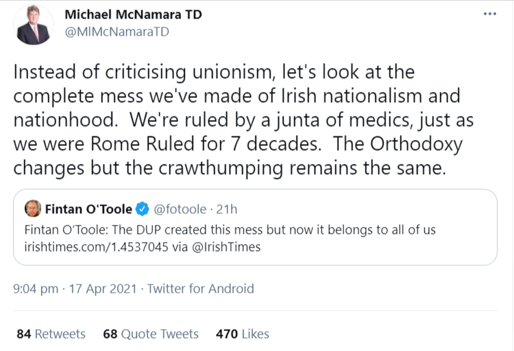 Michael-McNamara-TD-on-Twitter-Instead-of-criticising-unionism-let-s-look-at-the-complete-mess-we-ve-made-of-Irish-nationalism-and-nationhood-We-re-ruled-by-a-junta-of-medics-just-as-we-were-Rome-Ruled-for-7-de