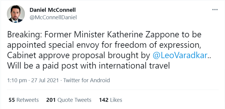 Daniel-McConnell-on-Twitter-Breaking-Former-Minister-Katherine-Zappone-to-be-appointed-special-envoy-for-freedom-of-expression-Cabinet-approve-proposal-brought-by-LeoVaradkar-Will-be-a-paid-post-with-internatio