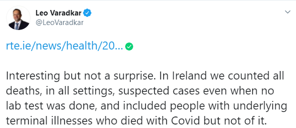 Tweet from Leo Vradakar saying we knew people died with COVID instead of it